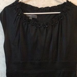 Black dress w button gathered collar